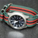 Green Black Red Stripe 22mm Nato Nylon Watch Strap