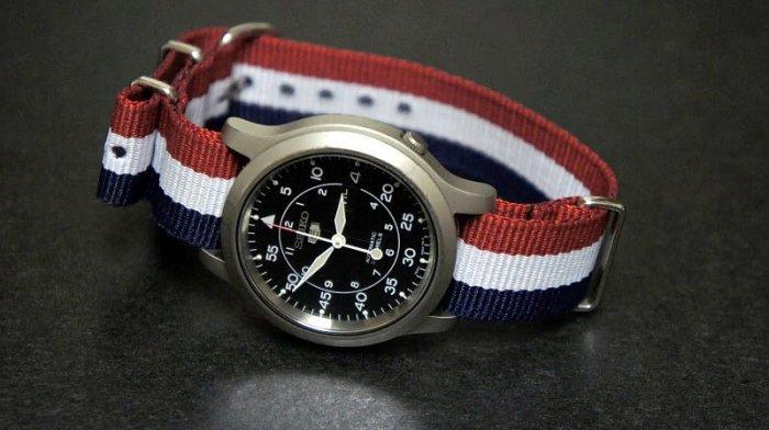 Red White & Blue Stripe 20mm Nato Nylon Watch Strap