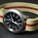 Sand and Red Stripe 20mm Nato Nylon Watch Strap