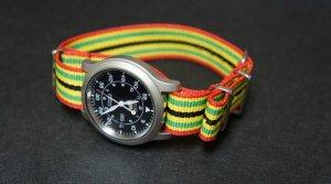 Green Red Yellow Black Stripe 20mm Nato Nylon Watch Strap