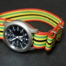 Green Red Yellow Black Stripe 22mm Nato Nylon Watch Strap