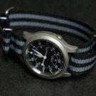 Black and Gray Stripe 24mm James Bond  Nato Nylon Watch Strap