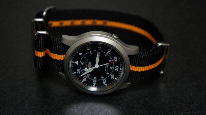 Black and Orange Stripe 20mm James Bond Nato Nylon Watch Strap