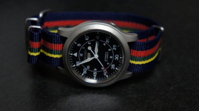 Blue Red Yellow Green Stripe 22mm Nato Nylon Watch Strap