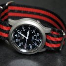 Black and Red Stripe 22mm James Bond Nato Nylon Watch Strap