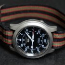 Black Olive and Red Stripe 22mm James Bond Nato Nylon Watch Strap
