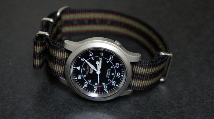 Black Green and Burgundy Stripe 22mm James Bond Nato Nylon Watch Strap