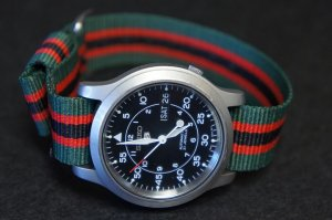 Green Black Red Stripe 22mm Military Watch Strap