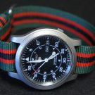Green Black Red Stripe 18mm Military Watch Strap