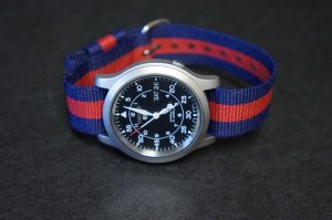 Blue Red Stripe 22mm Military Watch Strap