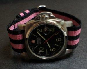 Black Pink Stripe 22mm Military Watch Strap