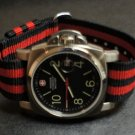 Black Red Stripe 20mm Military Watch Strap