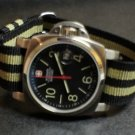 Black Olive Stripe 22mm Military Watch Strap