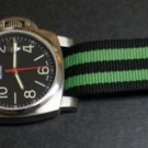 Black Green Stripe 22mm Military Watch Strap