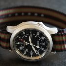 Black Dark Red Green Stripe 20mm PVD Black Line Nato Nylon Watch Strap