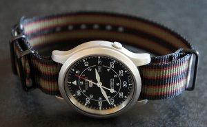 Black Dark Red Green Stripe 20mm PVD Black Line Nato Nylon Watch Strap
