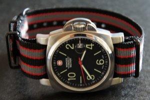 Black Red Gray Stripe 20mm PVD Black Line Nato Nylon Watch Strap
