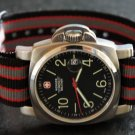 Black Red Gray Stripe 24mm PVD Black Line Nato Nylon Watch Strap