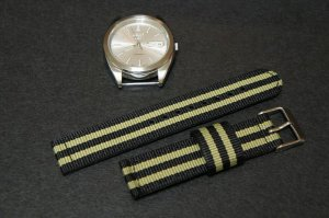 Black Olive Stripe 18mm 2 Piece Military Watch Strap