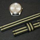 Black Olive Stripe 22mm 2 Piece Military Watch Strap