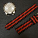 Black Red Stripe 18mm 2 Piece Military Watch Strap
