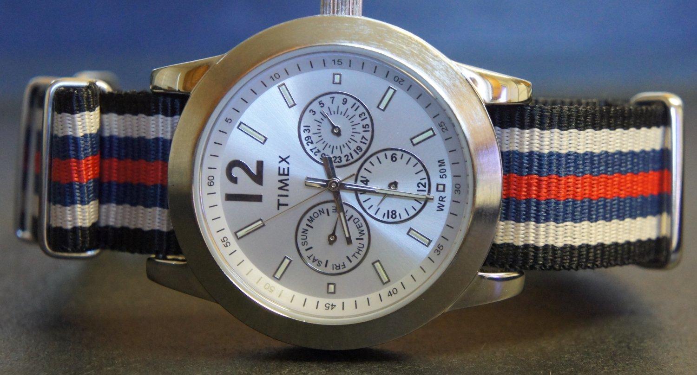 Black Cream Blue and Red Stripe 20mm James Bond Nato Nylon Watch Strap