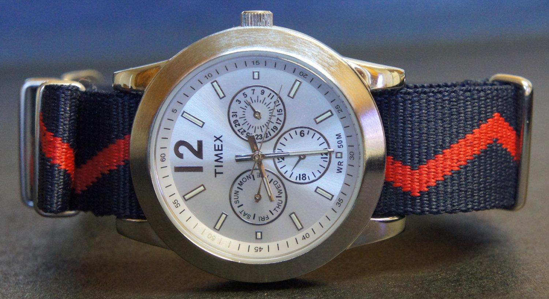 Blue and Red Zig Zag 20mm James Bond Nato Nylon Watch Strap