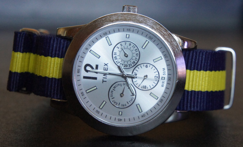Blue and Yellow Stripe 20mm Nato Nylon Watch Strap