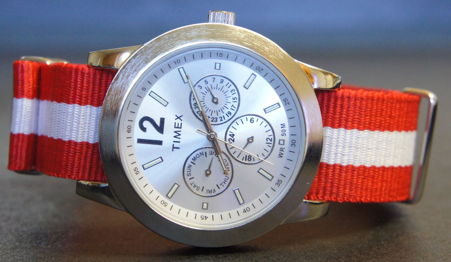 Red and White Stripe 20mm Nato Nylon Watch Strap