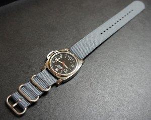 Gray 24mm 3 Ring Zulu Nylon Watch Strap Band