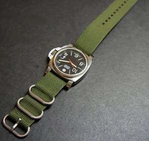 Military Green 24mm 3 Ring Zulu Nylon Watch Strap Band
