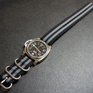Black Gray 22mm 3 Ring Zulu Nylon Watch Strap Band