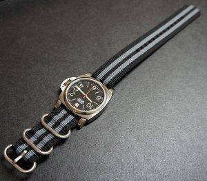 Black Gray 24mm 3 Ring Zulu Nylon Watch Strap Band
