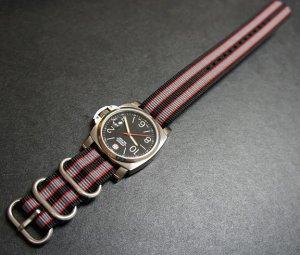 Black Red Gray 24mm 3 Ring Zulu Nylon Watch Strap Band