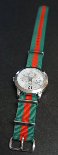 Green and Red Stripe 20mm Nato Nylon Watch Strap