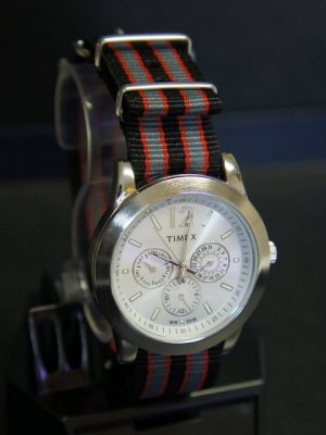 Black Gray and Red Stripe 24mm James Bond Nato Nylon Watch Strap
