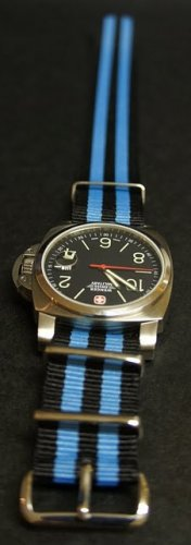 Black and Blue Stripe 22mm James Bond Nato Nylon Watch Strap