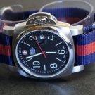 James Bond Blue Red 22mm 5 Ring Zulu Nylon Watch Strap Band