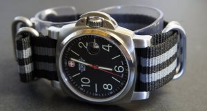 Black Gray 24mm 5 Ring Zulu Nylon Watch Strap Band