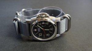 Gray 24mm 5 Ring Zulu Nylon Watch Strap Band