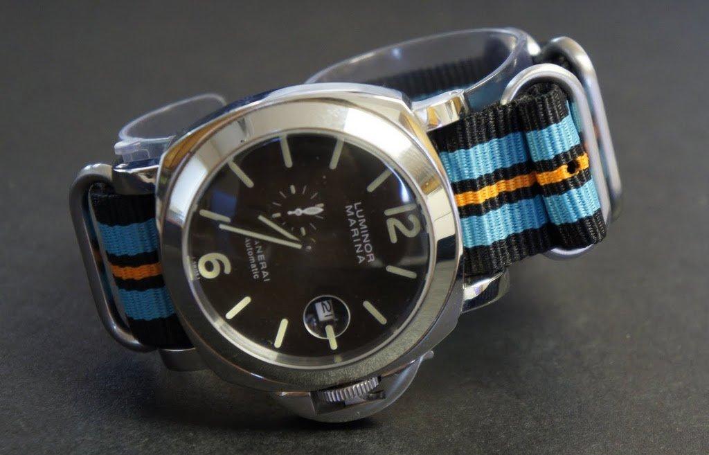 Black Blue Orange 24mm 4 Ring Zulu Nylon Watch Strap Band