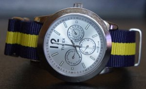 Blue and Yellow Stripe 18mm Nato Nylon Watch Strap