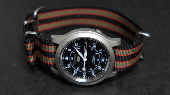 Black Red and Olive Stripe 16mm James Bond Nato Nylon Watch Strap