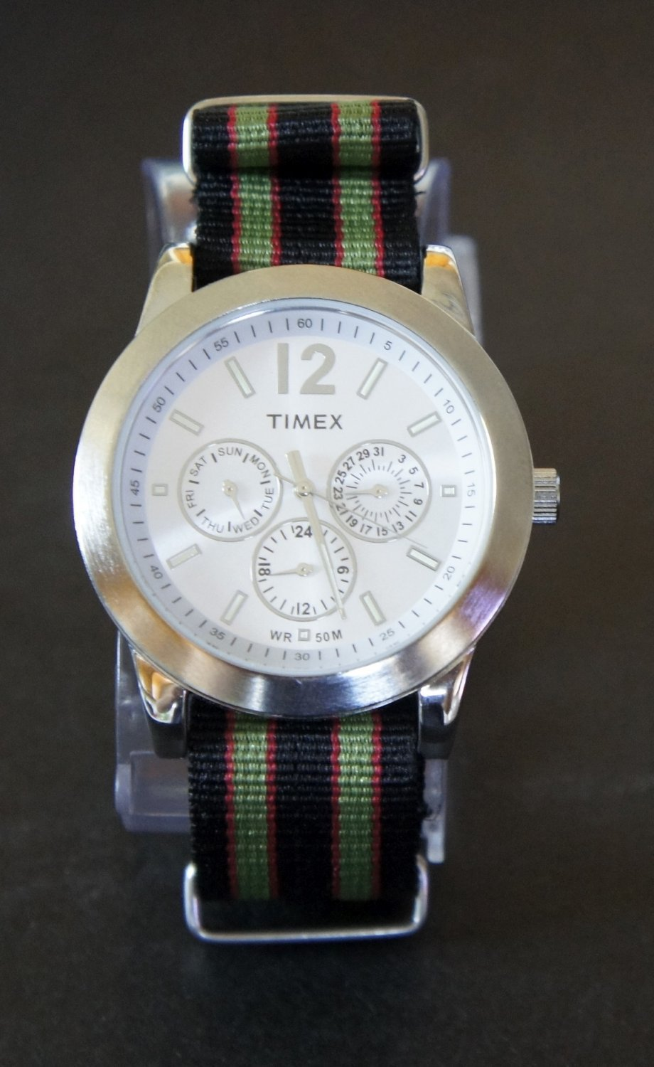 Black Red and Green Stripe 20mm James Bond Nato Nylon Watch Strap