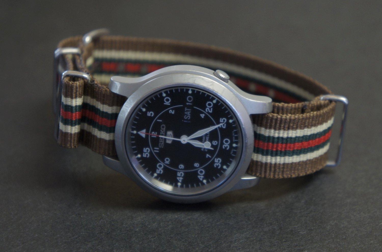 Brown Tan Blue and Red Stripe 20mm James Bond Nato Nylon Watch Strap