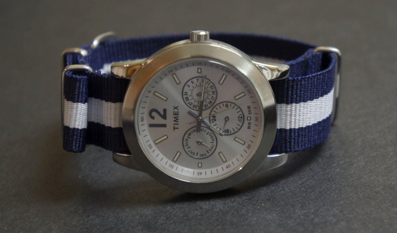 Blue and White Stripe 20mm James Bond  Nato Nylon Watch Strap