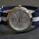 Blue and White Stripe 20mm James Bond  Nato Nylon Watch Strap