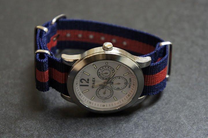 Blue and Red Stripe 16mm James Bond  Nato Nylon Watch Strap