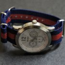 Blue and Red Stripe 22mm James Bond  Nato Nylon Watch Strap