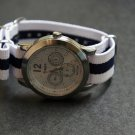 White Blue Stripe 20mm James Bond  Nato Nylon Watch Strap